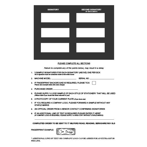 Signature plate order form