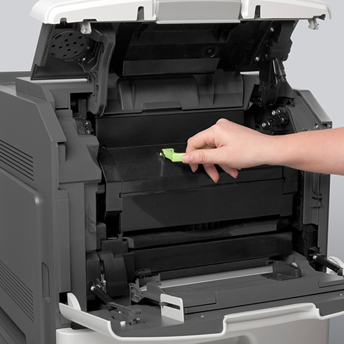 The easy Lexmark M5170 multifunction printer being opened for an ink change