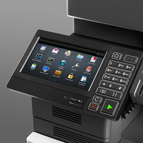 The console of the Lexmark XM6152 multifunction printer from Twofold Document Solutions