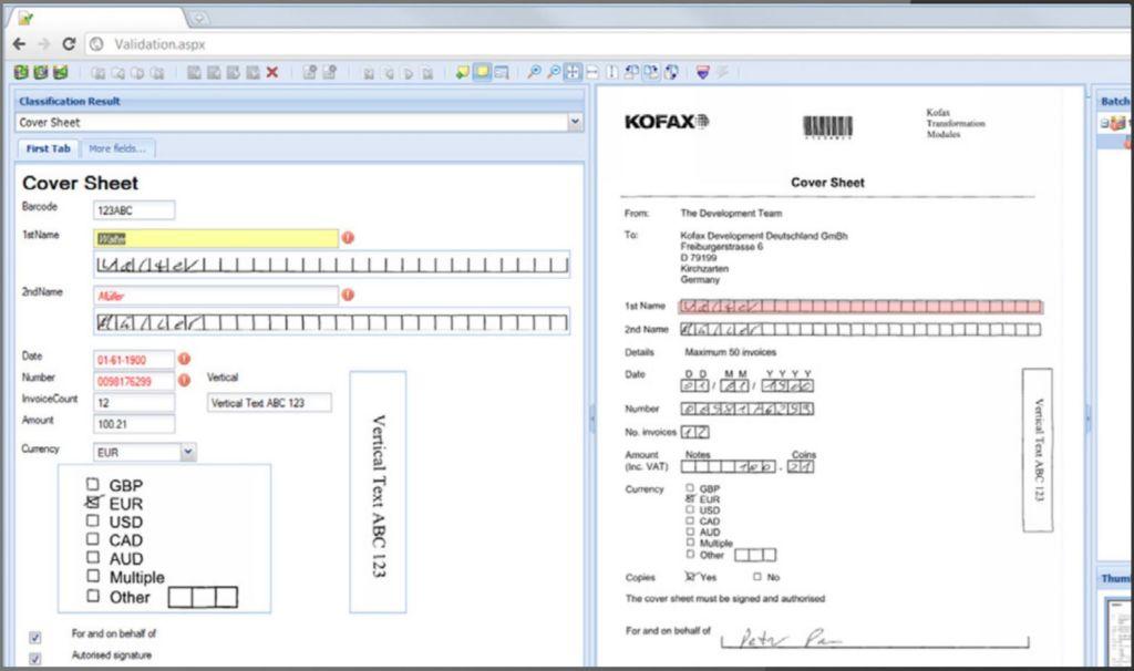Kofax transformations