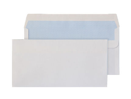 White envelope with blue printing inside