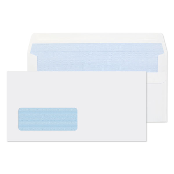 long white envelope with window and blue inner